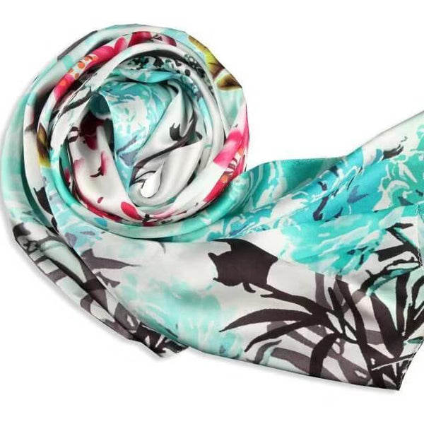 Silk Scarf Collections|Blossom Range|Spring Design|Green|Long Silk Scarf