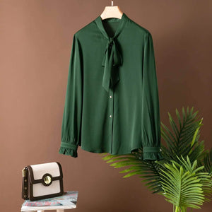 Pure Silk Long Sleeve Shirt with Tie Green