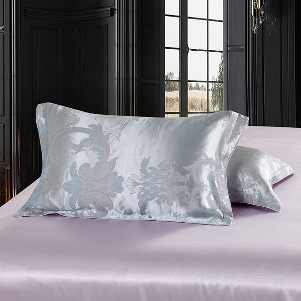 Luxury Silk and Shine Bedding Set Pure Lux Silver Grey
