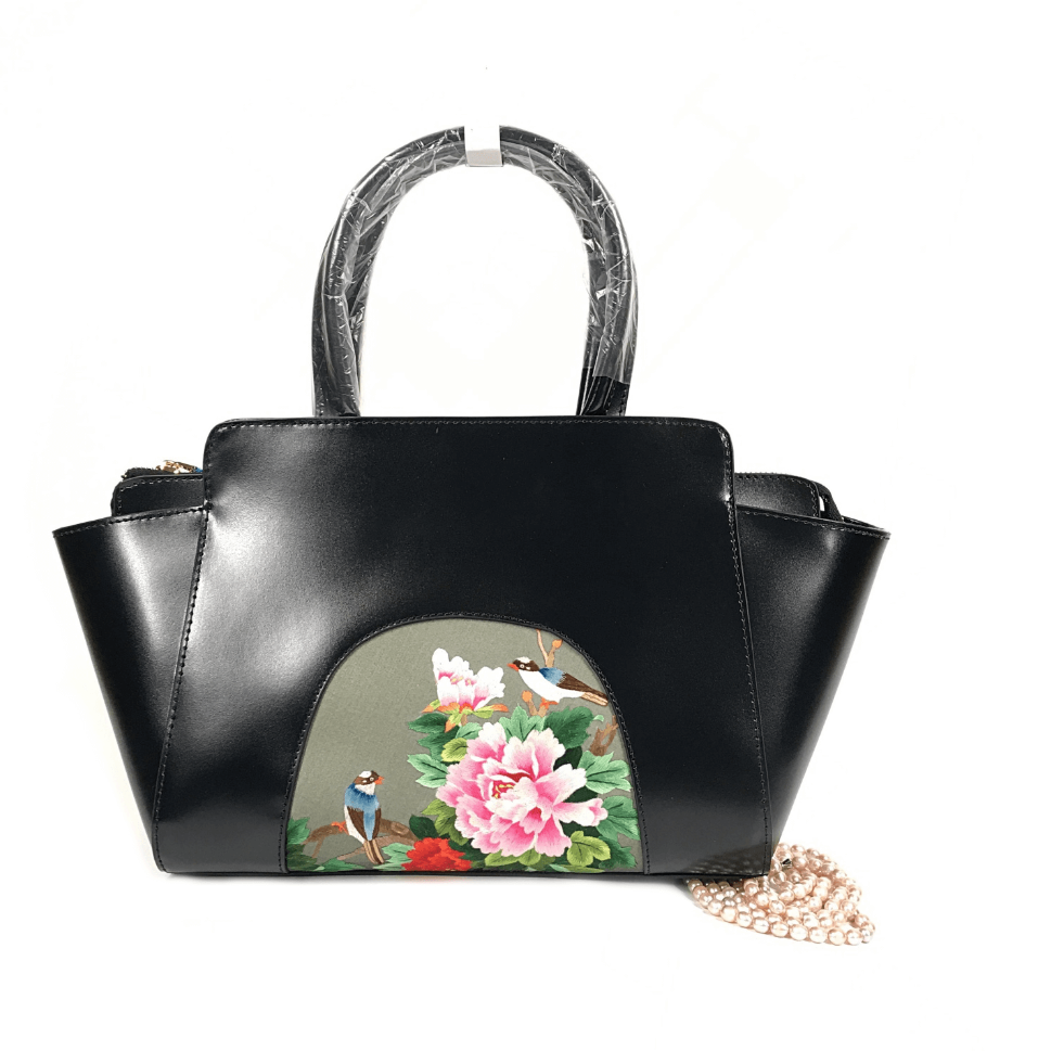 Luxury Silk Embroidery Handbag| Large| Spring Bliss - Vshine Silk and Shine Fashion Accessories