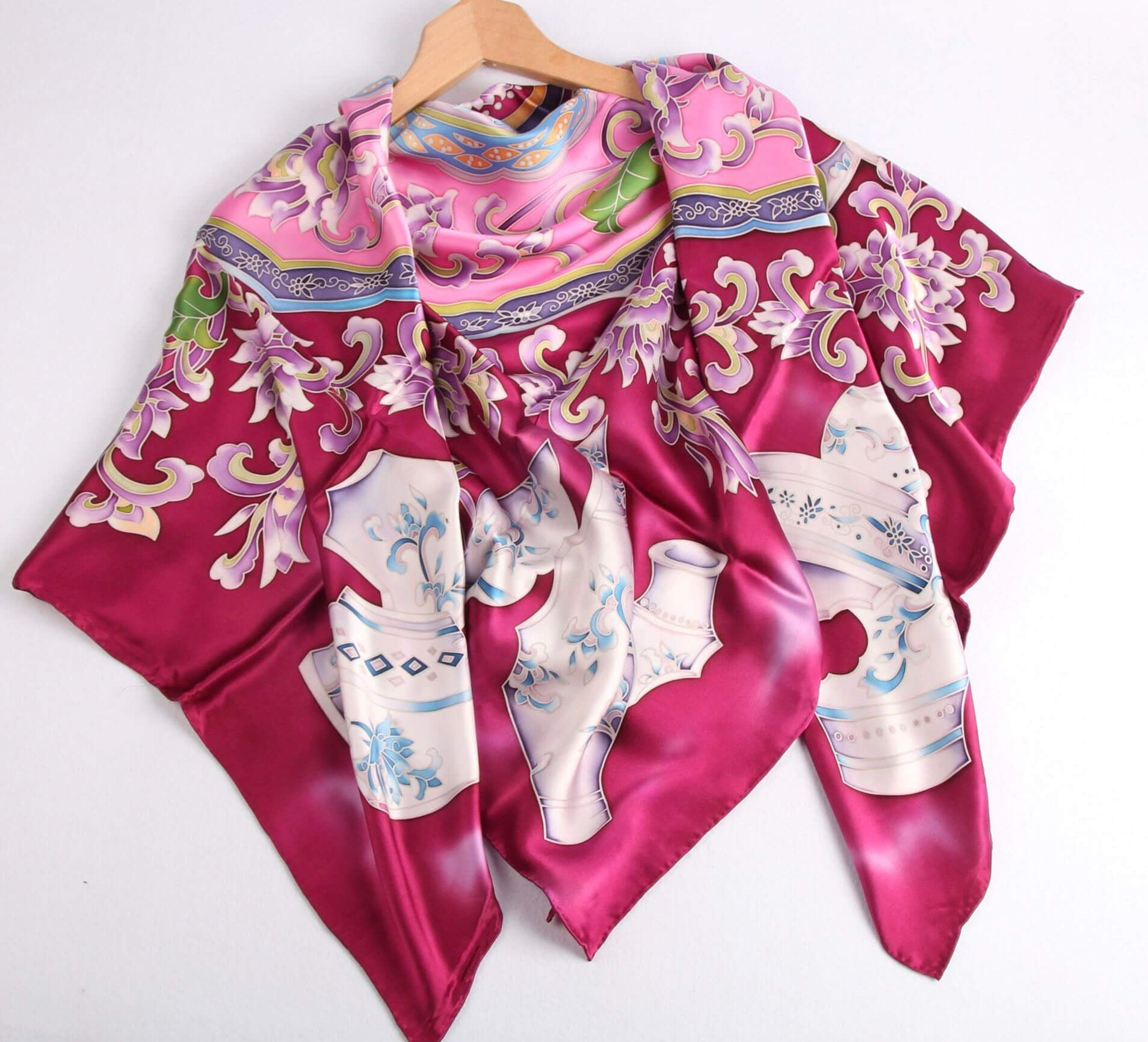 Limited Edition Hand Painted Silk Scarf Pink - Vshine Silk and Shine Fashion Accessories