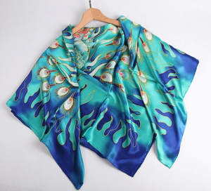 Limited Edition Hand Painted Silk Scarf Green - Vshine Silk and Shine Fashion Accessories