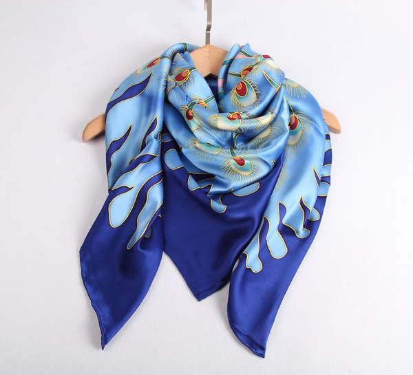 Limited Edition Hand Painted Silk Scarf Blue - Vshine Silk and Shine Fashion Accessories