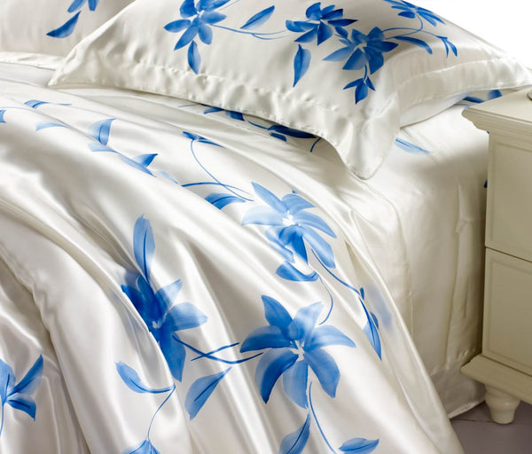 vshine silk and shine silkbedding handpainted blue