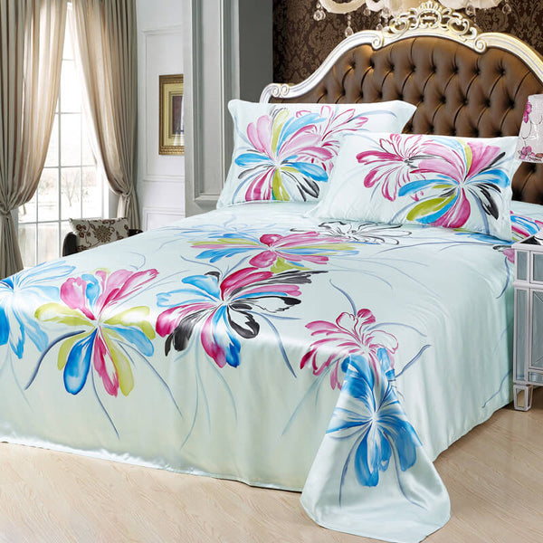 Luxury Silk and Shine Bedding Hand-painted Pink and Blue