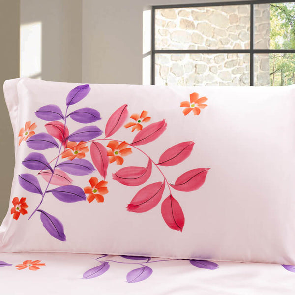 Luxury Silk and Shine Bedding Hand-painted Pink and Purple