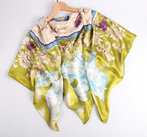 Limited Edition Hand Painted Silk Scarf Yellow - Vshine Silk and Shine Fashion Accessories