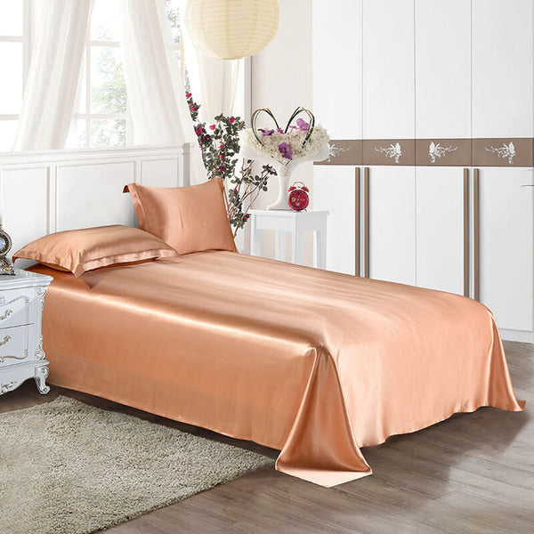 Luxury Silk and Shine Bedding Set Pure Lux Neutral Tone Harvest Gold