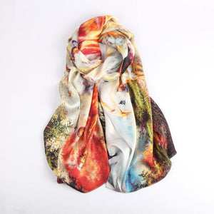 Vshine Silk and Shine Fashion Accessories|Silk Scarf Collections|Blossom Range|Horse Racing Design|Beige|Long Silk Scarf