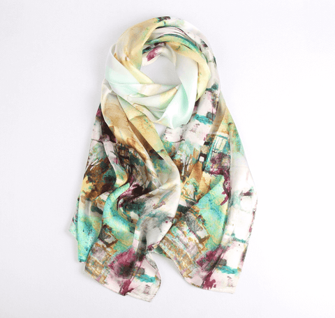 Vshine Silk and Shine Fashion Accessories|Silk Scarf Collections|Blossom Range|Impressionism Design|Beige|Long Silk Scarf