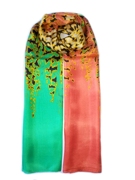 Large Silk Scarf Leopard Yellow and Green - Vshine Silk and Shine Fashion Accessories