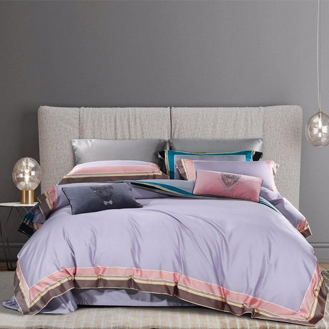 100% Cotton Sateen Bedding Set Jungle Myth Lilac