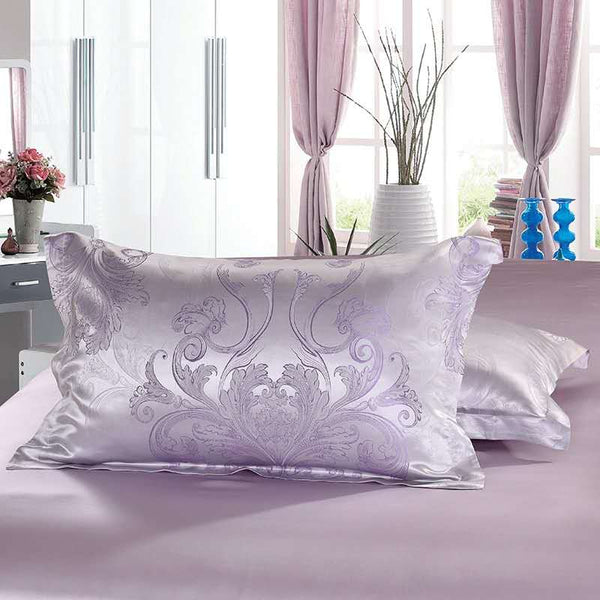 Luxury Silk and Shine Bedding Set Pure Lux Jacquard Lilac Dreams