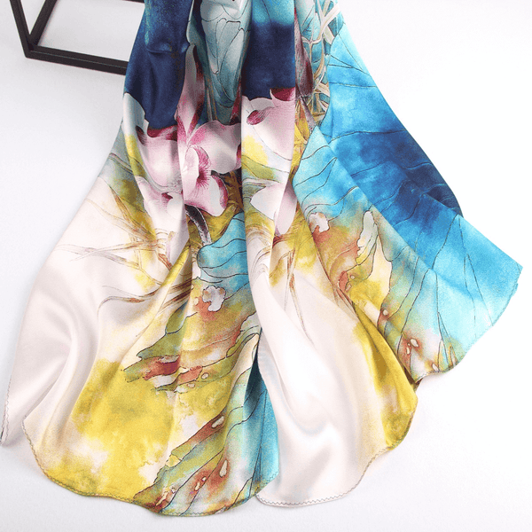 Vshine Silk and Shine Fashion Accessories|Silk Scarf Collections|Blossom Range|Lotus Blue Design|Blue|Long Silk Scarf