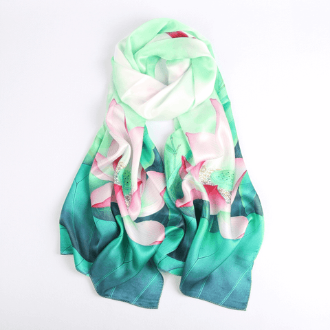Vshine Silk and Shine Fashion Accessories|Silk Scarf Collections|Blossom Range|Lotus Design|Green|Long Silk Scarf