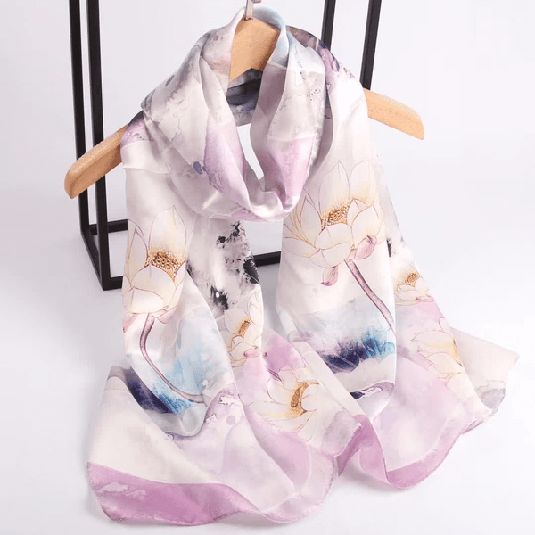 Vshine Silk and Shine Fashion Accessories|Silk Scarf Collections|Blossom Range|Lotus Design|Lilac|Long Silk Scarf