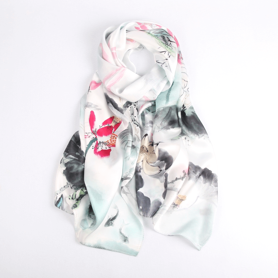 Vshine Silk and Shine Fashion Accessories|Silk Scarf Collections|Blossom Range|Lotus Design|White|Long Silk Scarf