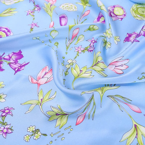 Vshine Silk and Shine Large Square Satin Silk Scarf Spring Blossom Pale Blue