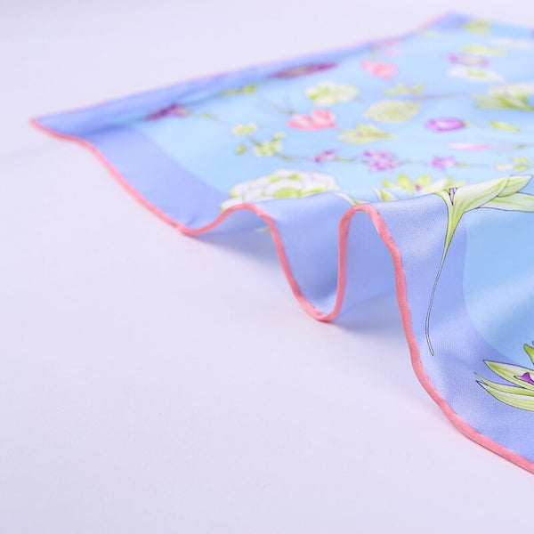 Large Square Silk Scarf Spring Blossom Blue