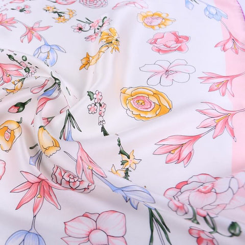 Vshine Silk and Shine Large Square Satin Silk Scarf Spring Blossom Pink