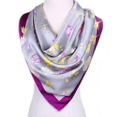 Large Square Silk Scarf Spring Blossom Purple