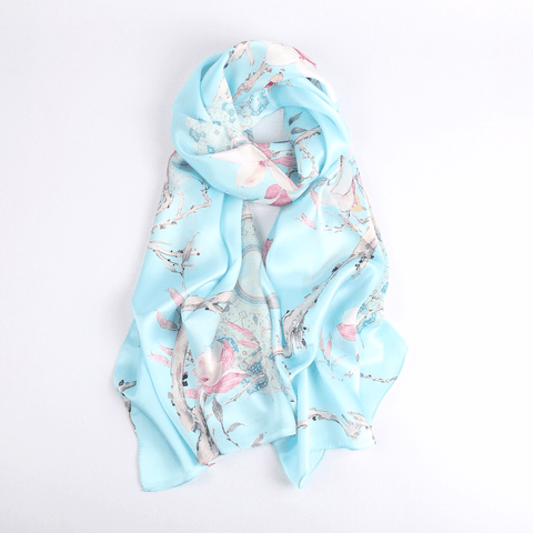Vshine Silk and Shine Fashion Accessories|Silk Scarf Collections|Blossom Range|Magnolia Design|Blue|Long Silk Scarf