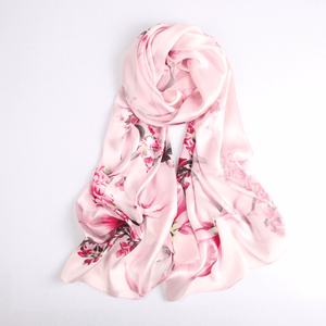 Vshine Silk and Shine Fashion Accessories|Vshine Silk and Shine Fashion Accessories|Silk Scarf Collections|Blossom Range|Magnolia Design|Pink|Long Silk Scarf