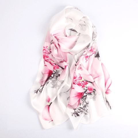 Vshine Silk and Shine Fashion Accessories|Silk Scarf Collections|Blossom Range|Magnolia Design|White|Long Silk Scarf