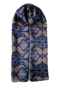 Large Silk Scarf Abstract Paiseley Navy - Vshine Silk and Shine Fashion Accessories