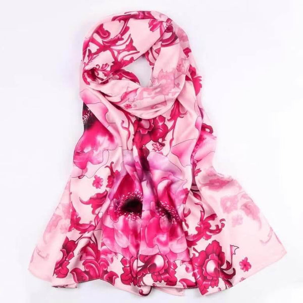 Vshine Silk and Shine Fashion Accessories|Silk Scarf Collections| Blossom Range|Floral Power Design|Pink|Long Silk Scarf