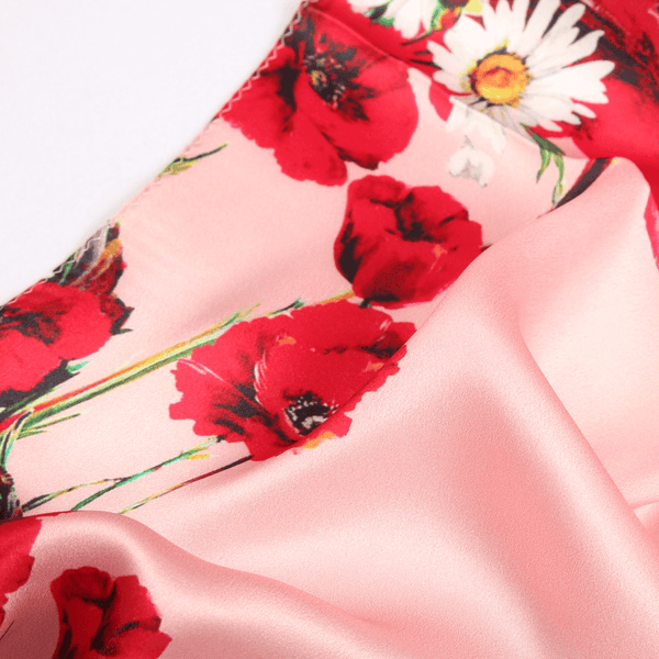 Vshine Silk and Shine Fashion Accessories|Silk Scarf Collecitons|Blossom Range|Poppy Daisy Design|Red|Long Silk Scarf
