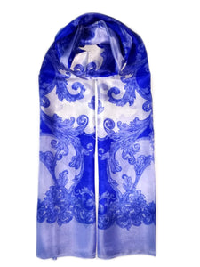 Large Silk Scarf Porcelain Blue - Vshine Silk and Shine Fashion Accessories