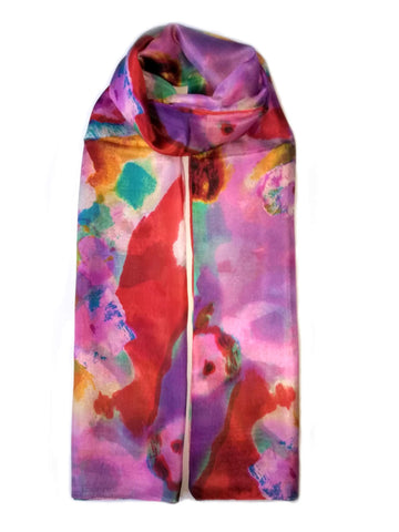 Large Silk Scarf Bloom Pink - Vshine Silk and Shine Fashion Accessories