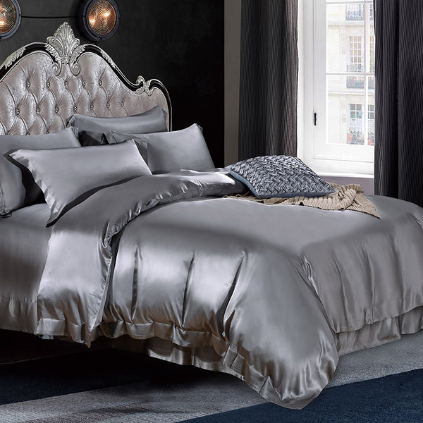Luxury Silk and Shine Bedding Set Pure Lux Neutral Tone Silver