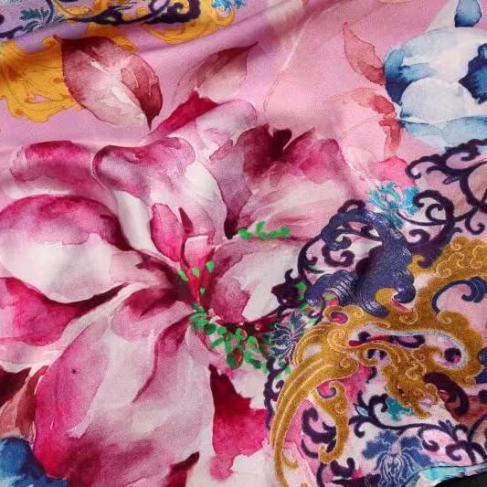 Vshine Silk and Shine Fashion Accessories|Silk Scarf Collecitons|Blossom Range|Oriental Flowers Design|Purple|Long Silk Scarf