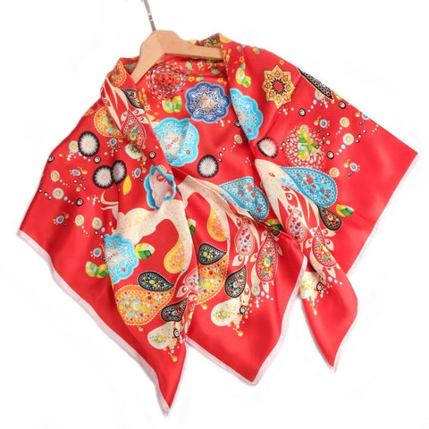 Vshine Silk and Shine Limited Edition Extra Large Silk Scarf Red