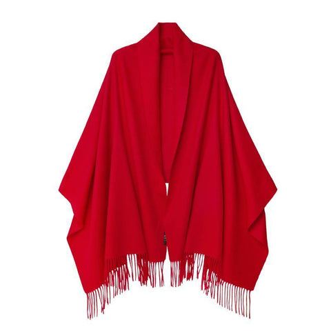 Vshine Silk and Shine Cashmere Shawl Red