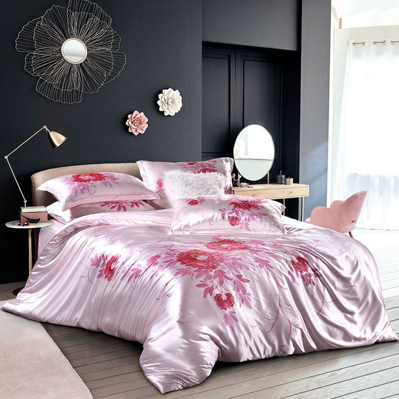 Luxury Silk and Shine Bedding Set Pure Lux Neutral Tone Rose Dream