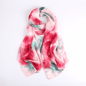 Vshine Silk and Shine Fashion Accessories|Silk Scarf Collecitons|Blossom Range|Rose Design|Red|Long Silk Scarf