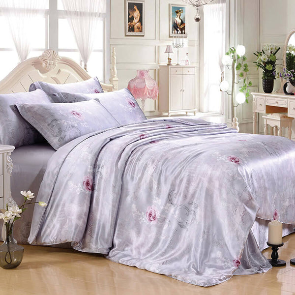 Luxury Silk and Shine Bedding Rose on Silver