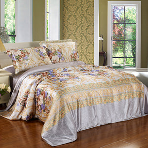 Luxury Silk and Shine Bedding Classic Golden Bloom