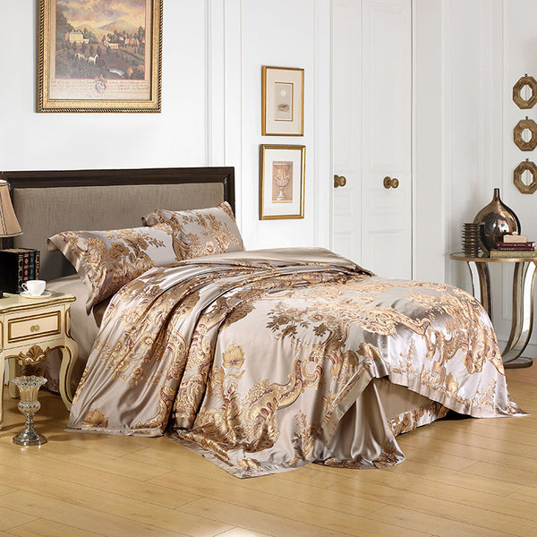 Luxury Silk and Shine Bedding Set Pure Lux Gold Jacquard