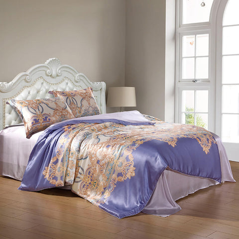 Silk and Shine Bedding Set Gold on Lilac