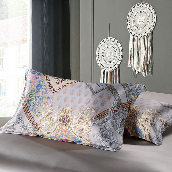 Luxury Silk and Shine Bedding Set Gold on Silver