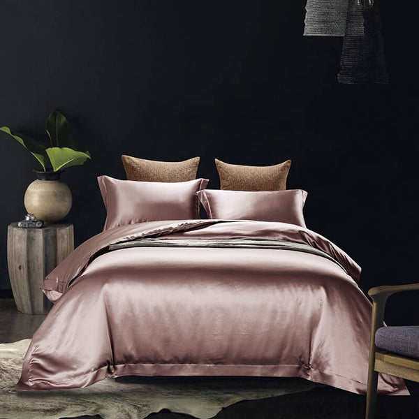 Luxury Silk and Shine Bedding Set Pure Lux Neutral Tone Pink