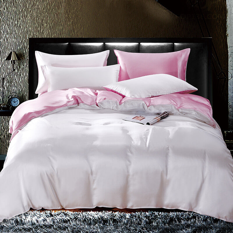 Luxury Silk and Shine Bedding Pink and Silver