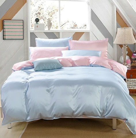 Luxury Silk and Shine Bedding Pink and Blue