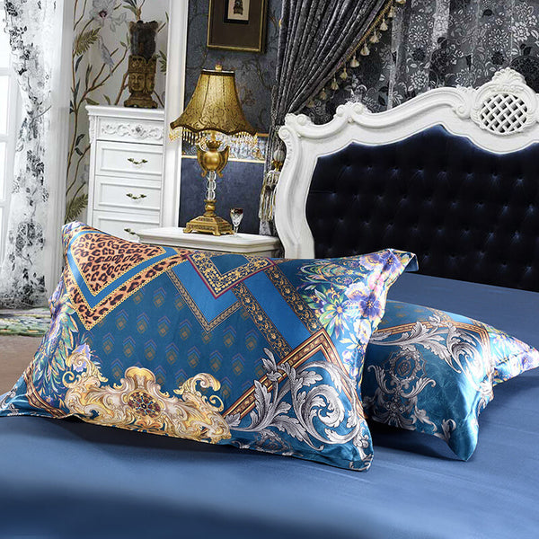 Luxury Silk and Shine Bedding Set Gold on Blue