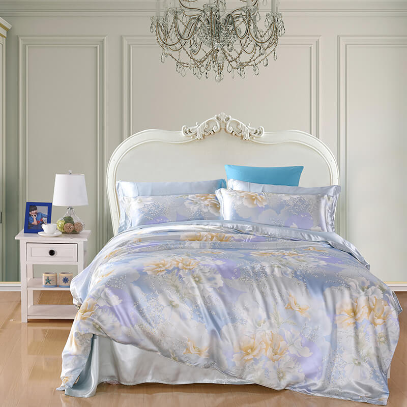 Luxury Silk and Shine Bedding Set Ethereal Blossoms