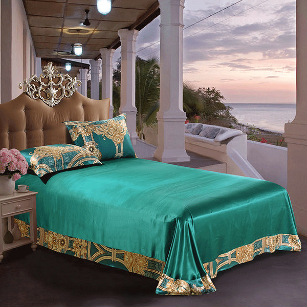 Luxury Silk and Shine Bedding Set Gold on Green
